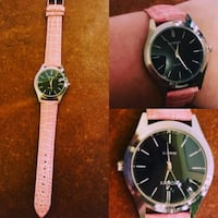 round silver-colored Xanon analog watch with pink leather band collage Browns Summit, 27214