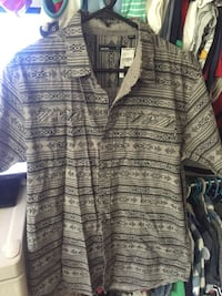 gray and black tribal print button-up shirt