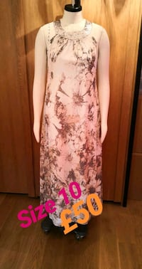 white and brown floral sleeveless dress Greater London, IG1 3QB