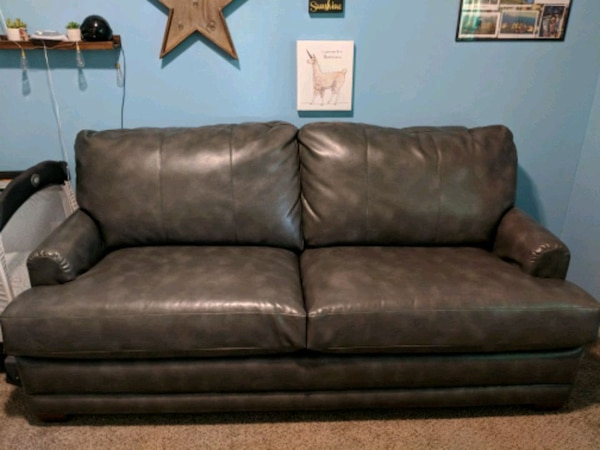 Lazy boy leather couch with queen hide-a-bed