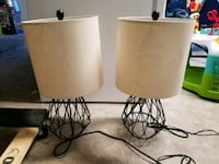 two black metal base white shade table lamps Pearland, 77581