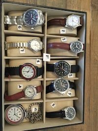 assorted color of analog watches
