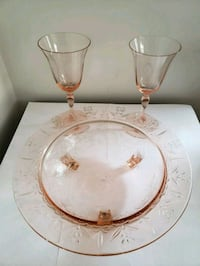 Vintage pink etched glass bowl & 2 glasses West Bridgewater, 02379