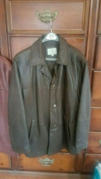 Brown mens button up leather jacket. XL  Waldorf, 20603