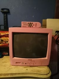 white CRT TV with remote London, N5V 3X1
