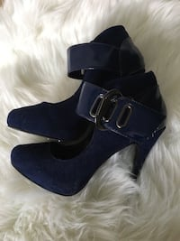 NAVY BLUE SUEDE HIGH HEELS STRAPPY- SIZE 7 TALONS HAUTS SUÈDE BLEU MARIN 787 km