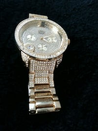 round silver chronograph watch with link bracelet Midland, 79701