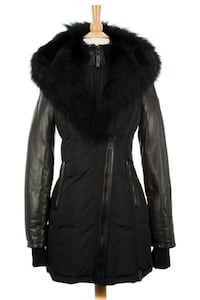 Rudsak Black Leather sleeve zip up parka with fur hood