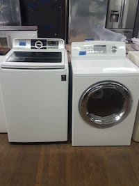 white Samsung washer and dryer set