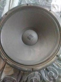 round black and gray subwoofer Boston