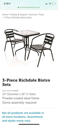 Patio/outdoor table and two chairs set