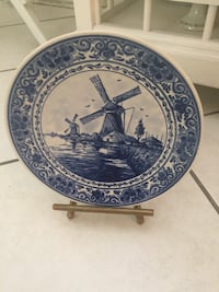 round blue and white ceramic decorative plate HOUSTON