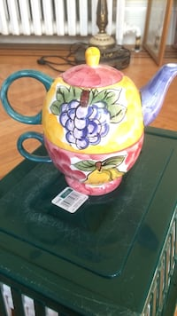 yellow and pink grape and pear print ceramic turkish teapot