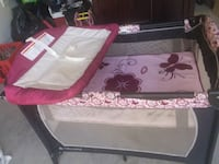 white and pink floral travel cot Mission, 78572