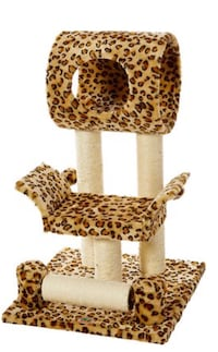 Brown, black, and white leopard print cat post Henderson, 89015