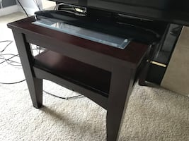 End Table. Dark brown wood and glass