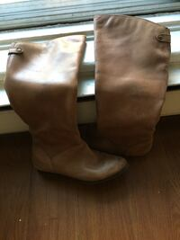 pair of brown leather boots Montréal, H3W 1W1