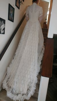 Women's white lace wedding dress with train