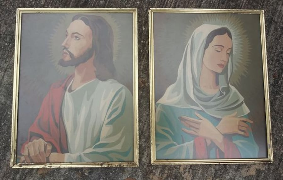 "Vintage Jesus and Mary Paint by Numbers Paintings each is 14"" x 11"" c1d9d6a0-990e-4aba-bb26-de1e1e8dc4a5"