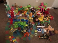 assorted plastic toy collection with box South Houston, 77587