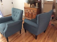 two blue fabric sofa chairs Fairfax, 22030