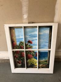 "Painting on window frame.  24W X 28""T"