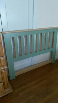 gray and brown wooden headboard