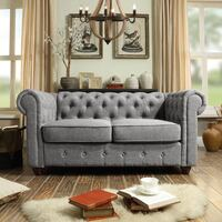 Wayfair Quitaque Chesterfield Loveseat (Gray Linen) Santa Monica, 90405