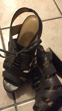 black coach leather open toe strappy chunky heels