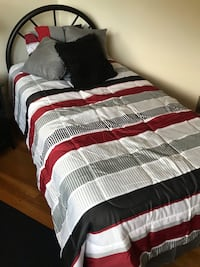 white, black, and red striped bed comforter Washington, 20024