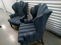 Wide wingback chairs blue striped