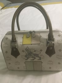 MCM Visetos White Lion Tote Bag Burnaby