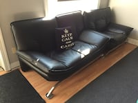 black leather 3-seat sofa Gaithersburg, 20878