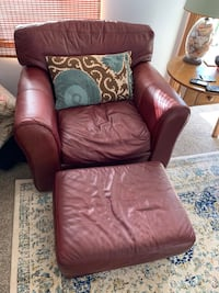 brown leather sofa chair with ottoman Summerland, 93067