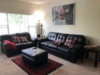black leather sofa set with coffee table Centreville, 20120