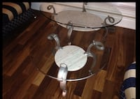 Wrought Iron and Glass coffee table and 2 side tables Laval, H7T