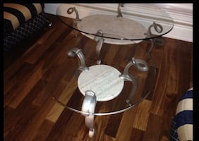 Wrought Iron and Glass coffee table and 2 side tables