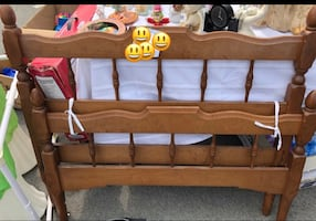 Bed frame single wooden with 1 night table