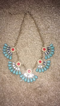 blue polished stone pendants gold chain necklace