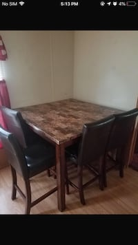 rectangular brown marble top table with chairs set Scott, 70583