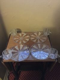 Set of 4 vintage antique luncheon plates and cups glass St Paul