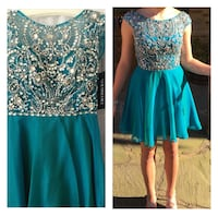 Women's teal and silver dress