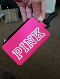 Pink VS key ring, ID wallet w zipper closure for money. new