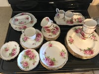White-and-pink floral ceramic dinnerware set