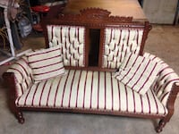brown wooden framed white and black stripe padded bench Perth South, N4X
