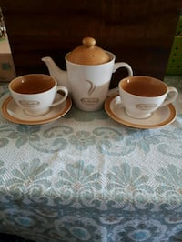 Tim Hortons teapot and cups with saucers. Whitby, L1P 1A1