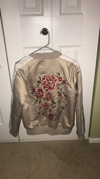gray, pink and white floral jacket
