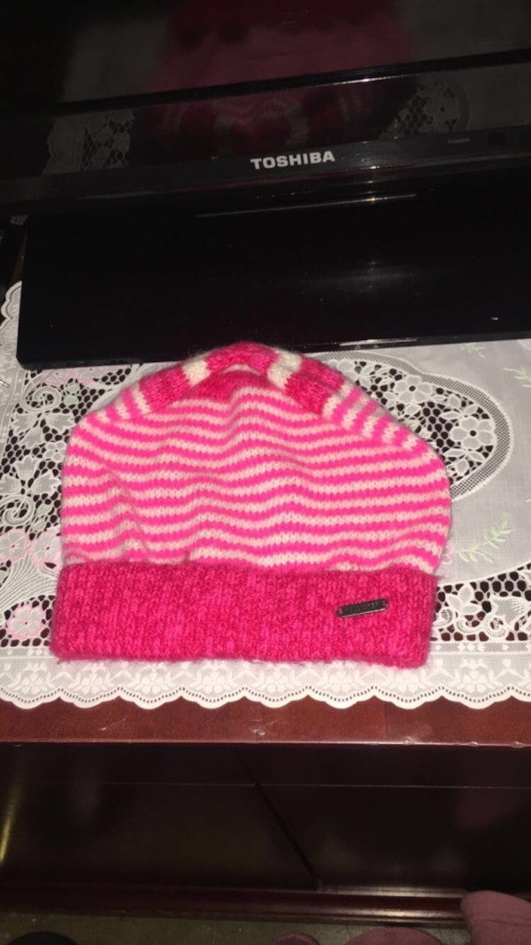41a2772372f Used Hollister pink   white striped beanie for sale in Hayward - letgo