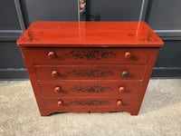 Primative Antique Red Painted Pine Bureau with Stencling Wareham, 02571