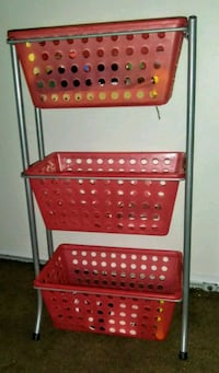 red and white plastic rack Highland, 92346